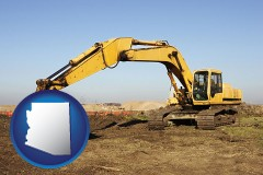 arizona map icon and excavation project equipment