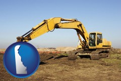delaware map icon and excavation project equipment