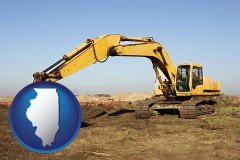 illinois map icon and excavation project equipment