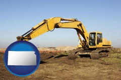 kansas map icon and excavation project equipment