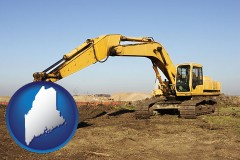 maine map icon and excavation project equipment