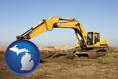 michigan map icon and excavation project equipment
