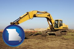 missouri map icon and excavation project equipment
