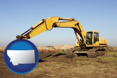montana map icon and excavation project equipment