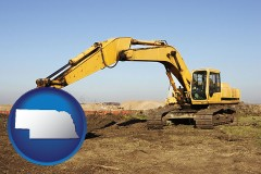 nebraska map icon and excavation project equipment