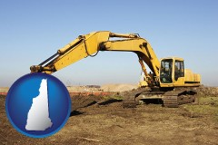 new-hampshire map icon and excavation project equipment
