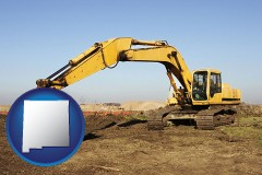 new-mexico map icon and excavation project equipment