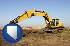 nevada map icon and excavation project equipment