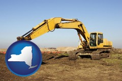new-york map icon and excavation project equipment