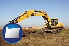 oregon map icon and excavation project equipment