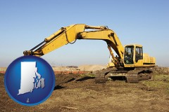 rhode-island map icon and excavation project equipment