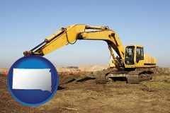 south-dakota map icon and excavation project equipment