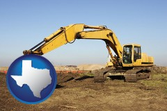 texas map icon and excavation project equipment