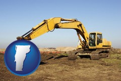 vermont map icon and excavation project equipment